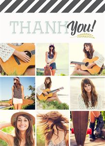 Photo gallery of a girl playing guitar on a Custom Thank You Card