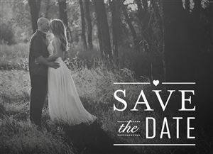 Couple kissing in the library on a Black & White Custom Save The Date Wedding Card