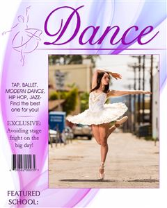 Dancer dancing in the middle of the street on the cover of a custom Magazine