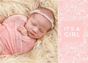 Sleeping newborn girl on a Custom Birth Announcement Photo Card