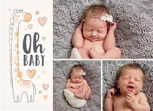 Photo Gallery of Sleeping baby girl on a Giraffe Themed Birth Announcement Photo Card