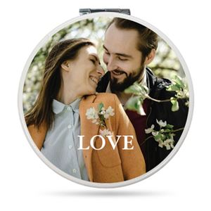 Couple smiling on a Custom Compact Mirror
