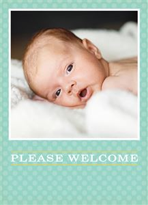 Newborn baby laying on a blanket on a Custom Birth Announcement Photo Card