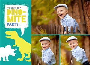 Smiling boy in a blue button up shirt on a Dinosaur Themed Birthday Invitation Card