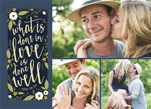 Three pictures of a couple on a Custom Save The Date Photo Card