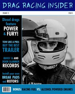 Two racecar drivers chatting on the cover of a custom Drag Racing Magazine Cover