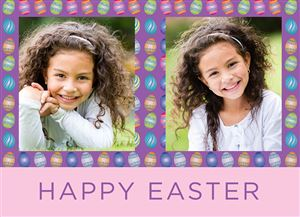 Two photos of a smiling girl on a Custom Happy Easter Photo Card