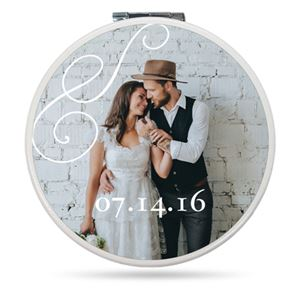 Newlyweds with their wedding date on a Custom Compact Mirror