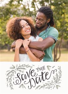 Hugging couple on a Custom Save The Date Announcement Card