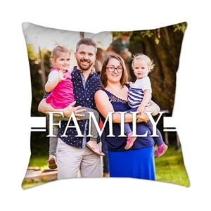 Mom, Dad, and their two daughters on a Custom Photo Pillow