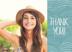 Smiling girl with a hat on a Custom Thank You Card