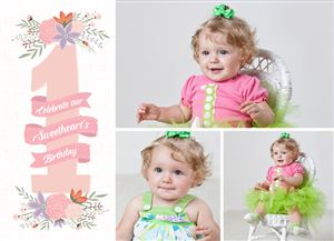 Little girl in a pink fress on a Custom First Birthday Invitation Card