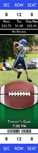 Football player catching a football on a Personalized Sport Photo Ticket