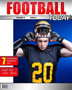 Football player putting on a helmet on the cover of a Football Magazine