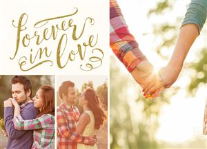 Couple kissing on a Forever In Love Custom Photo Card