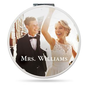 Newlywed couple last name announcement on a Custom Compact Mirror