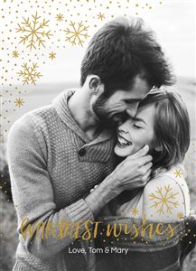 Couple kissing on a Black & White Real Foil Custom Christmas Card