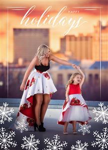 Mom and Daughter in dresses on a Custom Christmas Card