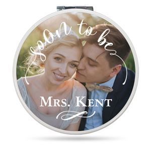Future Mrs announcement on a Custom Compact Mirror