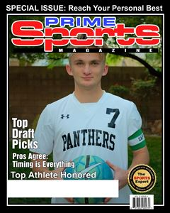soccer playing smiling holding a soccer ball on the cover of a custom Magazine cover