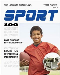Young football player holding his helmet and football on the cover of a Sports Magazine Cover