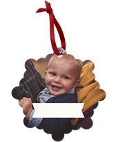 Smiling baby on a Custom Metal Christmas Photo Ornament