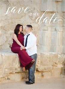 Hugging couple staring at each other on a Custom Save The Date Photo Card
