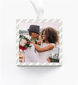 Mom with hugging her son on a Custom Gray Striped Cubed Christmas Ornament
