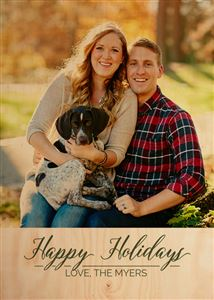 Smiling couple with their dog on a Custom Real Wood Photo Card