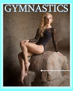 gymnast posing on a rock on the cover of a Magazine Cover