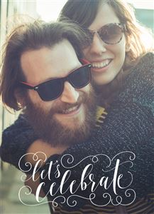 Smiling couple with sunglasses on a Custom Celebration Photo Card