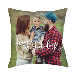 Smiling son behind held by mom and dad on a Custom Photo Pillow