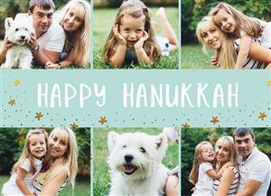 Photo gallery of a family of three with a pet dog on a Happy Hanukkah Card