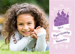 Smiling girl laying down on a Custom Castle Themed Birthday Invitation Card