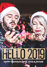 Couple in matching Santa hats on a Happy New Years Wooden Card