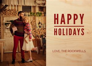 Couple posing for a picture on a Custom Real Wood Holiday Card