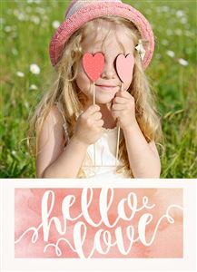 Little blonde girl with a pink hat on a Custom Valentines Day Photo Card