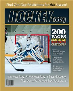Hockey goalie gets ready to save a shot on the cover of a custom Magazine Cover