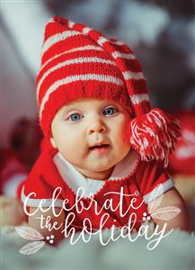 Baby in a red outfit on a Custom Holiday Card