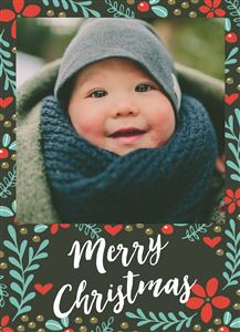 Smiling baby poses on a Christmas Themed Custom Card