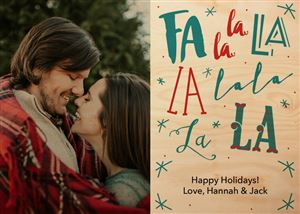 Couple hugging on a Custom Real Wood Holiday Card