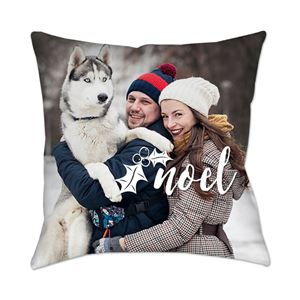 Husky being held in the snow by the owner and his girlfriend on a Custom Photo Pillow
