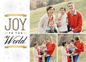 Mom and Dad hold their two babies on a Custom Christmas Card