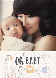 Mom holding newborn baby on a Custom Birth Announcement Photo Card