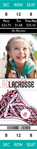 Smiling little girl on a Personalized Lacrosse Sport Photo Ticket