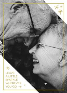 Old couple smiling on a Custom Holiday Card