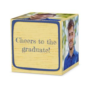 Cheers to the gradute on custom blue letter block