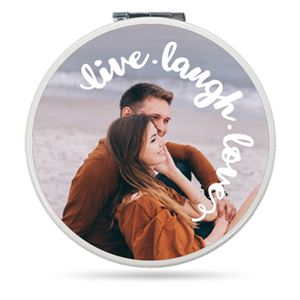 Couple on the beach on a Custom Compact Mirror