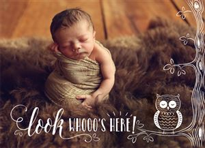Sleeping Baby on a brown bed on a Custom Birth Announcement Photo Card