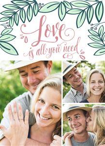 Photo gallery of couple on a Love Themed Photo Card